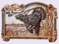 "Carved picture ""Black grouse"