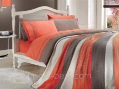Комплект постельного белья с вязаным покрывалом -