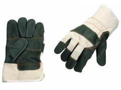Перчатки рабочие комбинированные из мебельной кожи