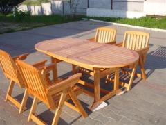 Table oval folding (massif of wood)