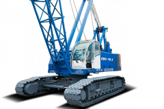 The caterpillar crane of 40 tons with a trellised arrow the 40th meter