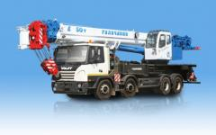 The KS-65713 truck crane loading capacity is 50 tons, length of an arrow is 34 meters