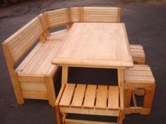 Corner furniture for a sauna, a bath, kitchen