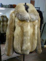 Short fur coat from fur of a fox, tailoring,