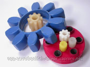 Elastic couplings and gear wheels from