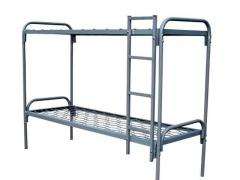 Bunk bed with metal bylets and a ladder
