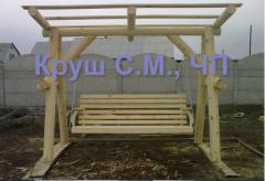 Качели деревянные из оцилиндрованного бревна