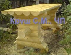 Столы из натурального дерева из оцилиндрованного