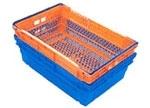 Стыкующийся и складывающийся пластиковый ящик со