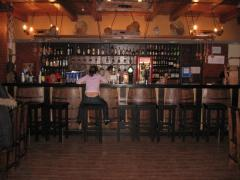 Bar counters and a natural tree chairs, bar