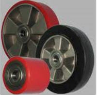 Rollers and wheels for hydraulic carts and pilers