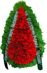 Ритуальный траурный венок с живыми цветами