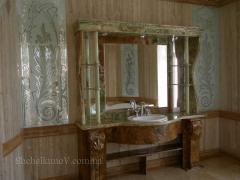 Мраморная столешница в ванную комнату.