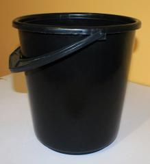 Bucket black plastic 10 l with a black cover