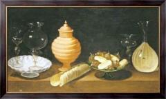 Картина Натюрморт из стекла, керамики и сладостей,