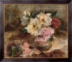 Картина Цветочный натюрморт с розами в стеклянной