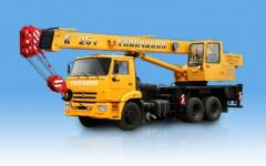 The KS-55713 truck crane loading capacity is 25 tons, length of an arrow is 21,7 meters
