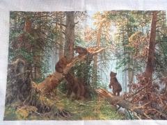 Вишита картина 'Медведі в лісі' ручна робота