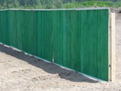 Fence construction wooden. Building site