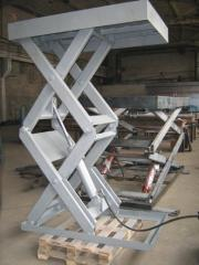 Two-scissors lifting hydraulic tables