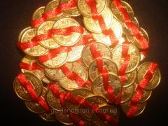 Coins gold on 3 pieces 5