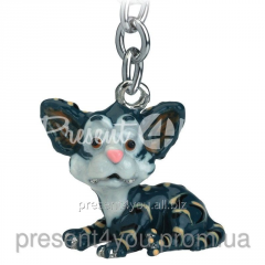 Брелок для ключей «Серо-черная кошка»