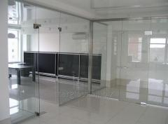 Partitions office glass, stationary and sliding