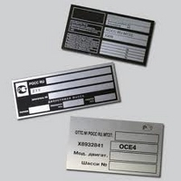 Data plates on the equipment metal