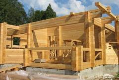 Wooden lodges, baths from the glued