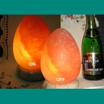 """Lamps salt """"Egg"""" on a support from onyx."""