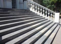 Granite steps, ladders, hand-rail, rail-posts.