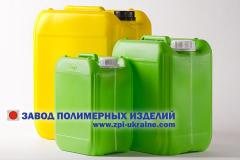 Polymeric container with a volume up to 30 l.