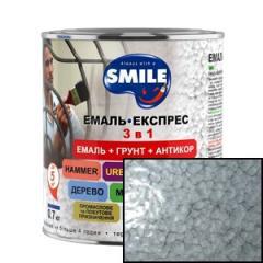 Эмаль Smile Молотковый эффект 3 в 1 серая 0,7 кг