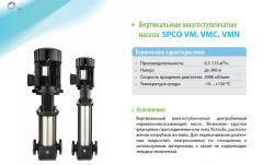 Вертикальні багатоступінчасті насоси  SPCO VM,
