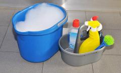 Bucket for cleaning with a support for household