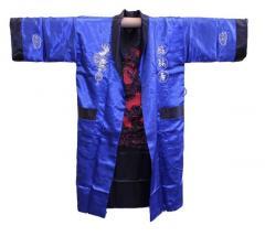Шелковый мужской халат с вышивкой дракон, Китай