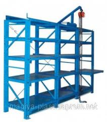 Racks for storage of stamps and press forms