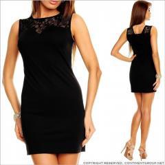 UTCG Черное прямое платье с кружевом 152519