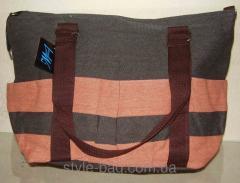 Женская пляжная холщевая сумка серо-коралловая