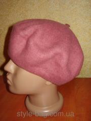 Женский фетровый берет - темно-розовый