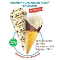 Ice cream in sugar horn in glaze. Novelty!