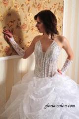 Wedding dress with a transparent corset.