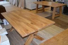 Solid oak tables, countertops with natural edge.