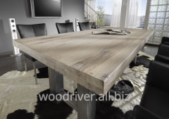 Loft table of solid oak, table top 20mm, 30mm, 40mm, 50mm, 60mm,