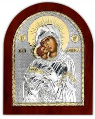 The Vladimir Icon gilded on a wooden frame of the