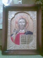 Икона Николая Чудотворца.Ручная работа.Резьба по