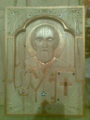 Икона Николая Угодника.Ручная работа.Резьба по