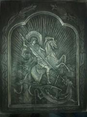 Икона Георгий Победоносец.Ручная работа.Резьба по