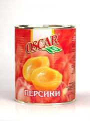 Peach halves, fruit preservation