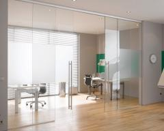 Partitions sliding glass